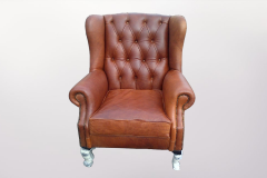 Brown Leather Arm Chairs - Furniture Re-Upholstery